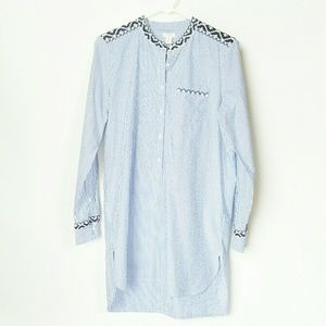 J Crew Factory Blue Striped Women's Popover